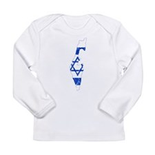 Israel Flag And Map Long Sleeve Infant T-Shirt