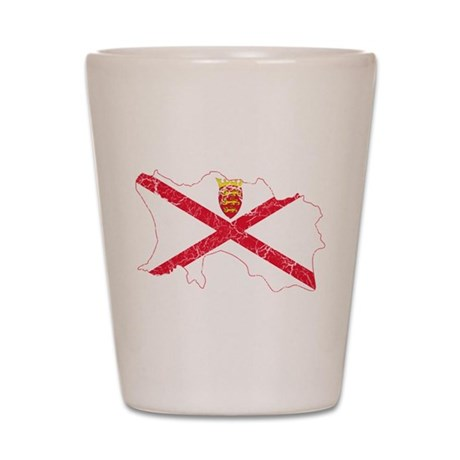Jersey Flag And Map Shot Glass