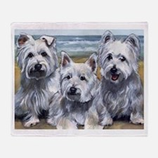 Three Westies Throw Blanket
