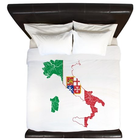 Italy Civil Ensign Flag And Map King Duvet