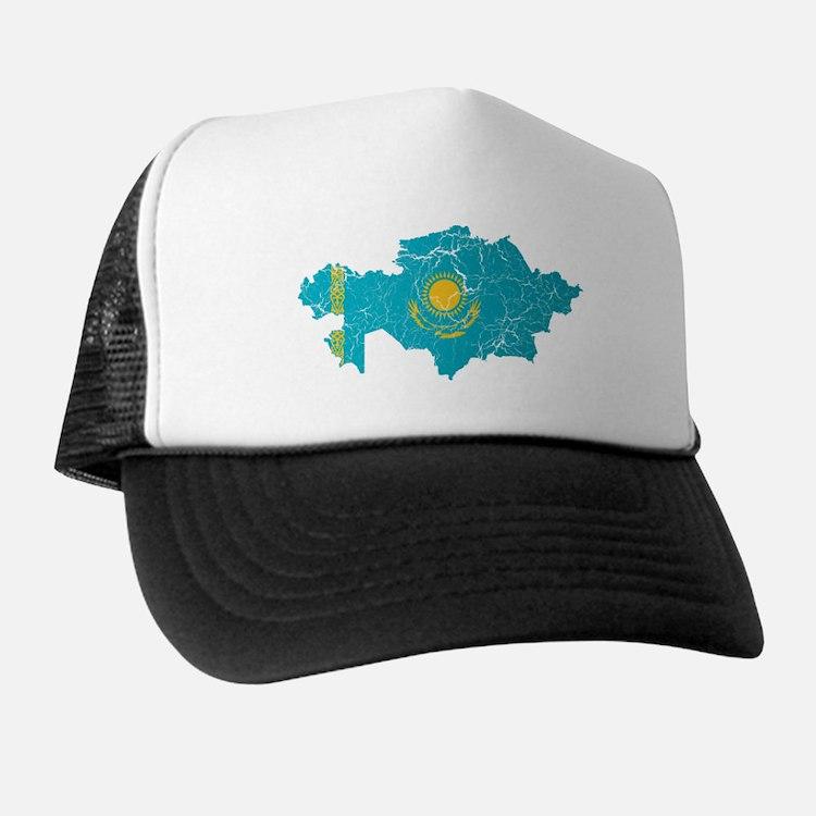 Kazakhstan Flag And Map Trucker Hat