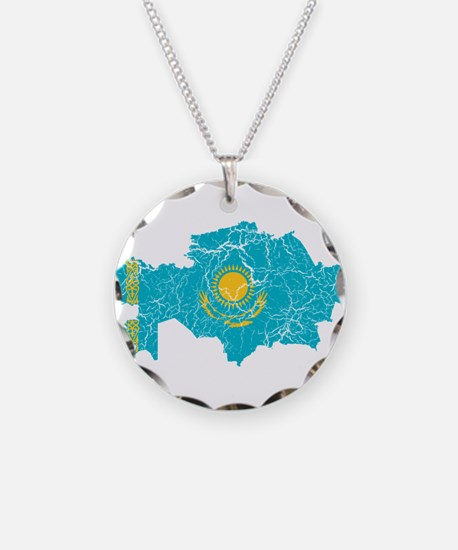 Kazakhstan Flag And Map Necklace