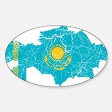 Kazakhstan Flag And Map Sticker (Oval)