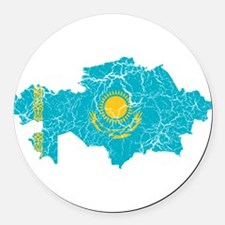 Kazakhstan Flag And Map Round Car Magnet