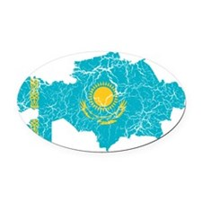 Kazakhstan Flag And Map Oval Car Magnet