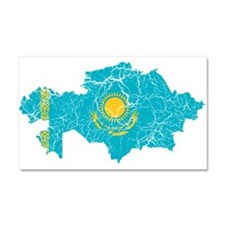 Kazakhstan Flag And Map Car Magnet 20 x 12