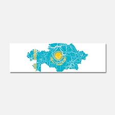Kazakhstan Flag And Map Car Magnet 10 x 3