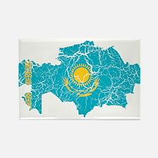 Kazakhstan Flag And Map Rectangle Magnet (100 pack
