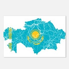 Kazakhstan Flag And Map Postcards (Package of 8)
