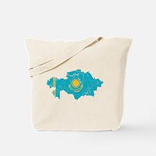 Kazakhstan Flag And Map Tote Bag