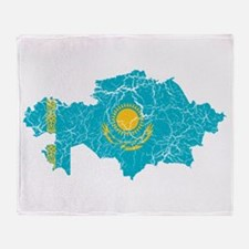 Kazakhstan Flag And Map Throw Blanket