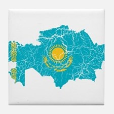 Kazakhstan Flag And Map Tile Coaster