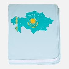 Kazakhstan Flag And Map baby blanket
