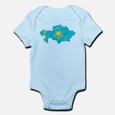 Kazakhstan Flag And Map Infant Bodysuit