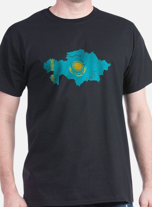 Kazakhstan Flag And Map T-Shirt