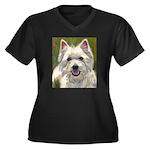 Happy Westie Women's Plus Size V-Neck Dark T-Shirt