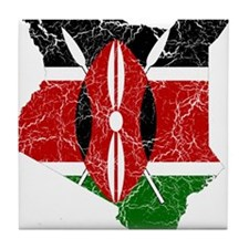 Kenya Flag And Map Tile Coaster