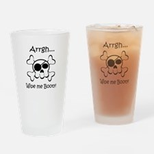 Skull Pirate Wipe Me Booty Drinking Glass