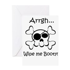 Skull Pirate Wipe Me Booty Greeting Card