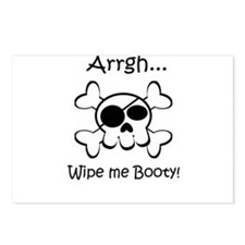 Skull Pirate Wipe Me Booty Postcards (Package of 8