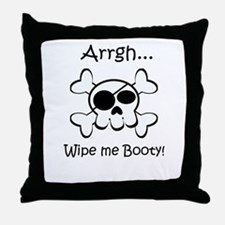 Skull Pirate Wipe Me Booty Throw Pillow