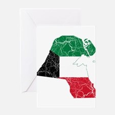 Kuwait Flag And Map Greeting Card