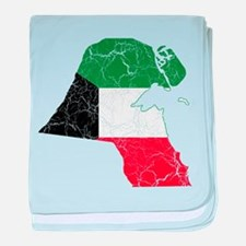 Kuwait Flag And Map baby blanket