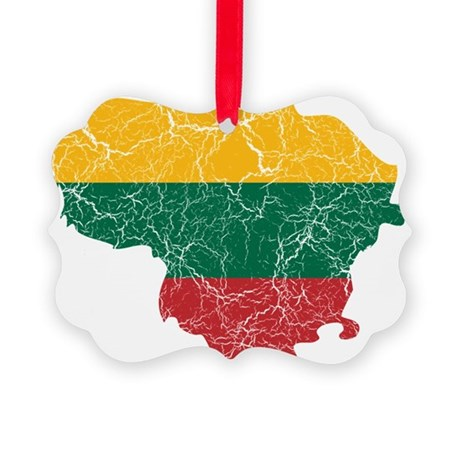 Lithuania Flag And Map Picture Ornament