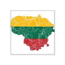 """Lithuania Flag And Map Square Sticker 3"""" x 3"""""""