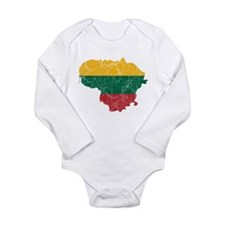 Lithuania Flag And Map Long Sleeve Infant Bodysuit