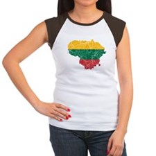 Lithuania Flag And Map Women's Cap Sleeve T-Shirt