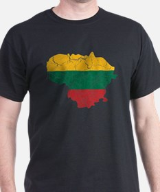 Lithuania Flag And Map T-Shirt