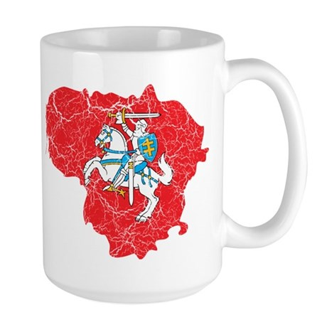 Lithuania State Ensign Flag And Map Large Mug