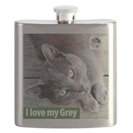 Grey Cat Flask