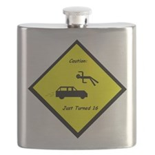 Caution: Just Turned 16 Flask