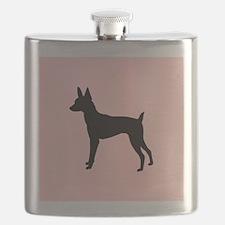 toy fox terrier retro pink Flask