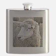 Ewe at Fence Flask