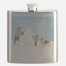 Keeshond Snow Dog Flask