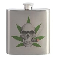 Skull Smoking Weed Flask
