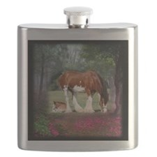 Clydesdale Mare and Foal Flask