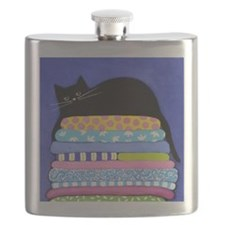 Black CAT On Quilts With Blue ART Pillow