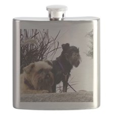 2 Rough Brussels Griffons Flask
