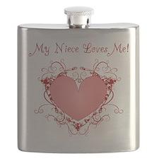 My Niece Loves Me Heart Flask