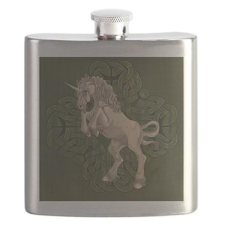 Unicorn on Celtic Knot Flask