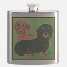 Double Dachshunds Flask