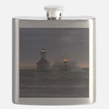 St Joe North Pier Lighthouses Flask