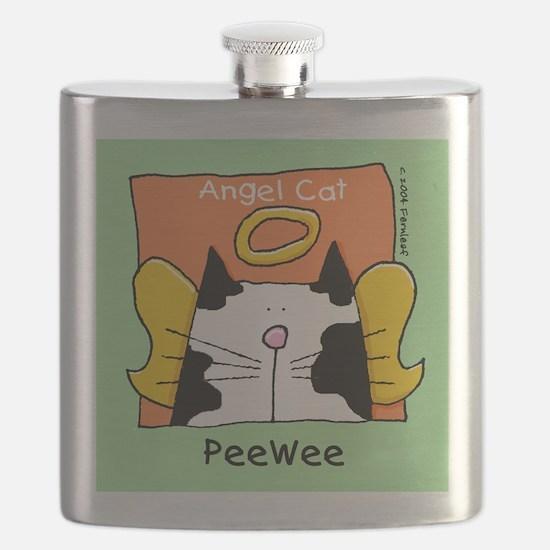 PEE WEE Black White Cat Memorial Flask