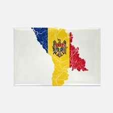 Moldova Flag And Map Rectangle Magnet