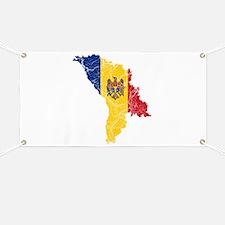Moldova Flag And Map Banner