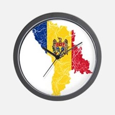 Moldova Flag And Map Wall Clock